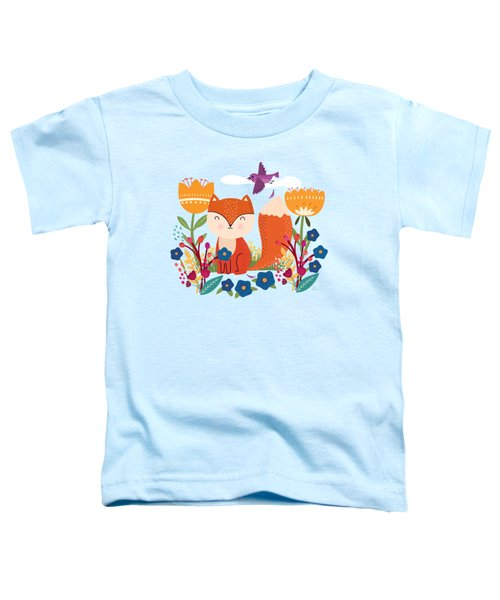 A Fox In The Flowers With A Flying Feathered Friend Toddler T-Shirt