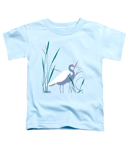abstract Egret graphic pop art nouveau 1980s stylized retro tropical florida bird print blue gray  Toddler T-Shirt