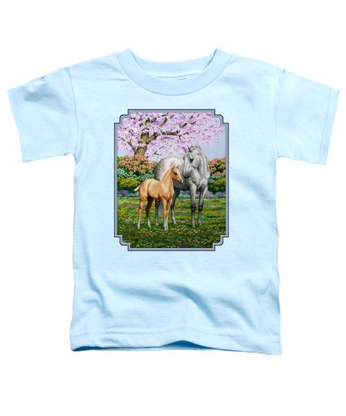 Spring's Gift - Mare And Foal Toddler T-Shirt