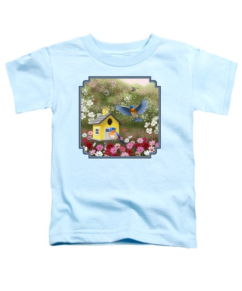 Bluebirds And Yellow Birdhouse Toddler T-Shirt