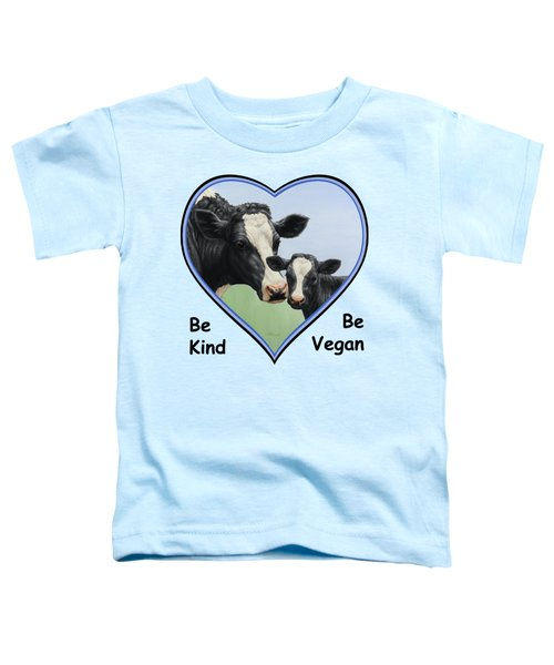 Holstein Cow And Calf Blue Heart Vegan Toddler T-Shirt by Crista Forest