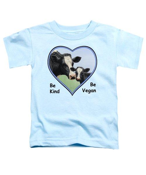 Holstein Cow And Calf Blue Heart Vegan Toddler T-Shirt