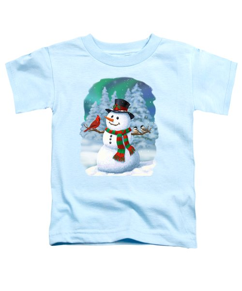 Sharing The Wonder - Christmas Snowman And Birds Toddler T-Shirt by Crista Forest