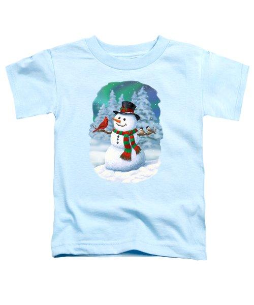 Sharing The Wonder - Christmas Snowman And Birds Toddler T-Shirt