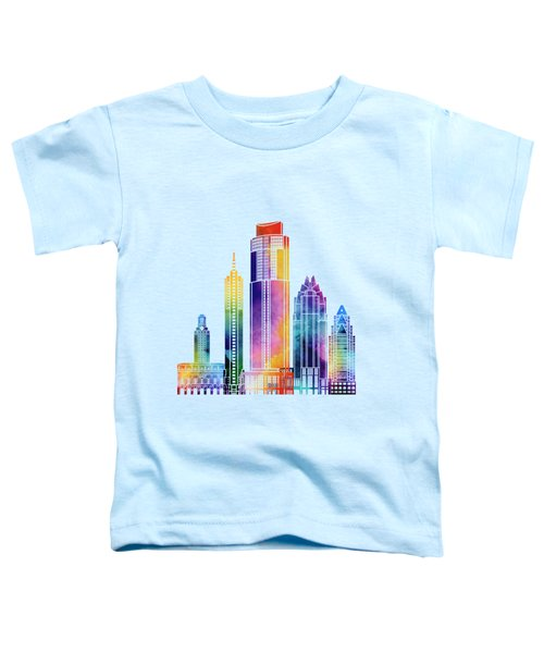 Austin Landmarks Watercolor Poster Toddler T-Shirt by Pablo Romero
