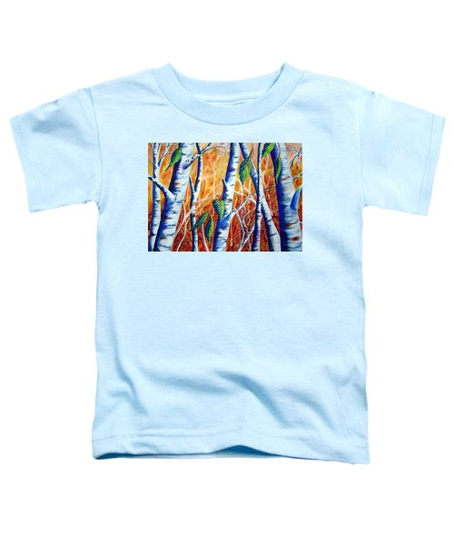 Toddler T-Shirt featuring the painting Autumn Birch by Joanne Smoley