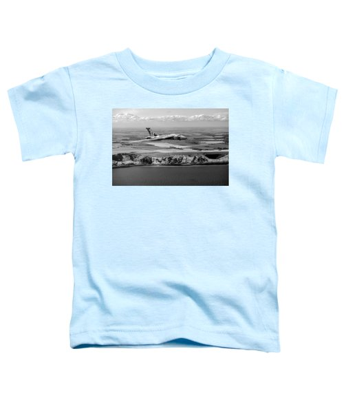 Avro Vulcan Over The White Cliffs Of Dover Black And White Versi Toddler T-Shirt