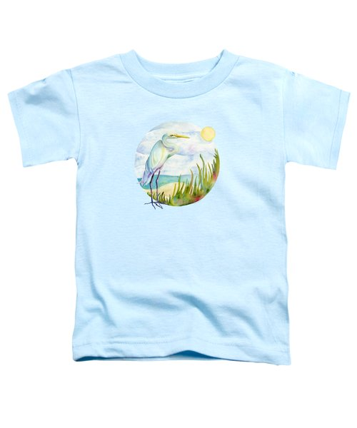 Beach Heron Toddler T-Shirt by Amy Kirkpatrick