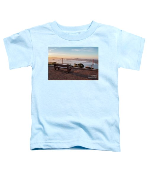 Bench Overlooking Downtown San Francisco And The Golden Gate Bri Toddler T-Shirt