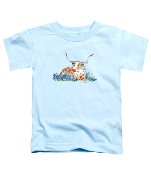 Bessie In The Bluebonnets Watercolor Painting By Kmcelwaine Toddler T-Shirt