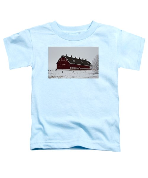 Big Red Barn In The Winter Toddler T-Shirt