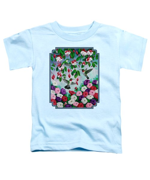 Bird Painting Hummingbird And Spring Flowers Toddler T-Shirt