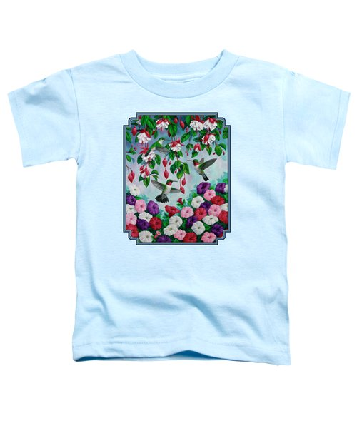 Bird Painting Hummingbird And Spring Flowers Toddler T-Shirt