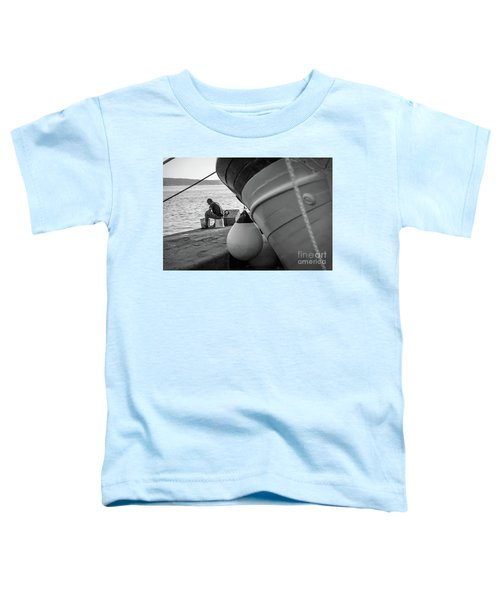 Black And White - Fisherman Cleaning Fish On Docks Of Kastel Gomilica, Split Croatia Toddler T-Shirt