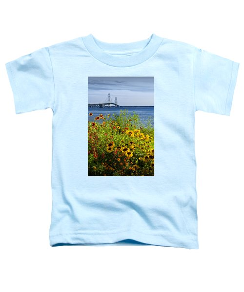 Blooming Flowers By The Bridge At The Straits Of Mackinac Toddler T-Shirt