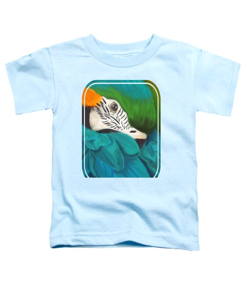 Blue And Gold Macaw Toddler T-Shirt by Becky Herrera