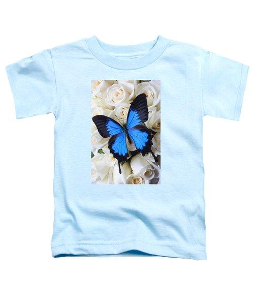 Blue Butterfly On White Roses Toddler T-Shirt