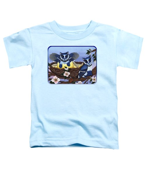 Blue Jay Kittens Toddler T-Shirt by Carrie Hawks