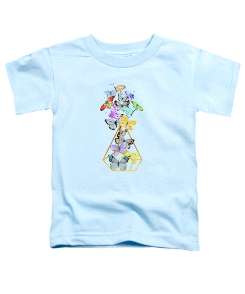 Butterfly Gold Wire Terrarium Against Whitewashed Wood Toddler T-Shirt