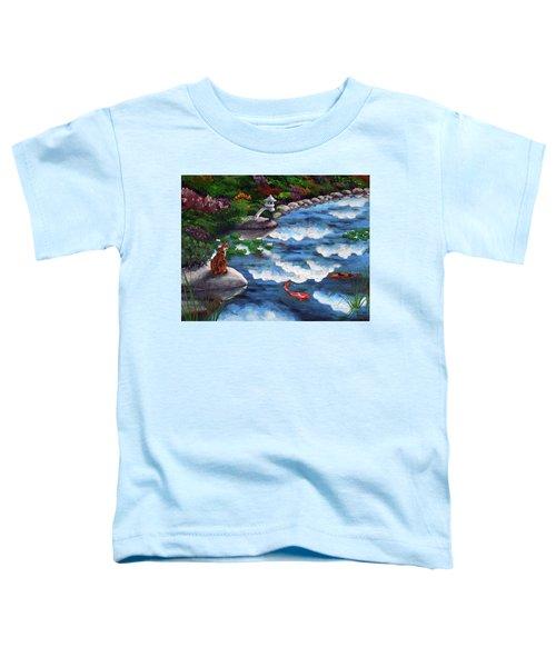 Calico Cat At Koi Pond Toddler T-Shirt