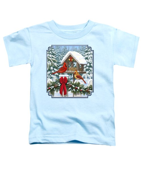 Cardinals Christmas Feast Toddler T-Shirt by Crista Forest
