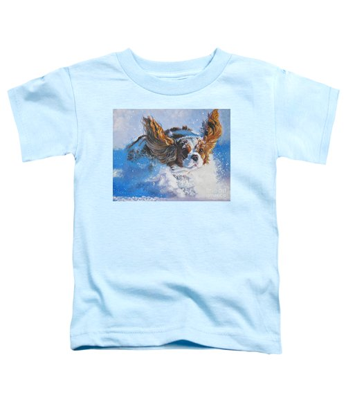 Cavalier King Charles Spaniel Blenheim In Snow Toddler T-Shirt