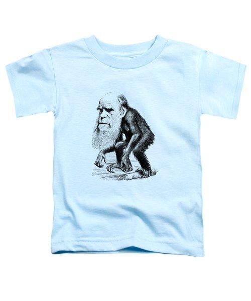 Charles Darwin As An Ape Cartoon Toddler T-Shirt by War Is Hell Store
