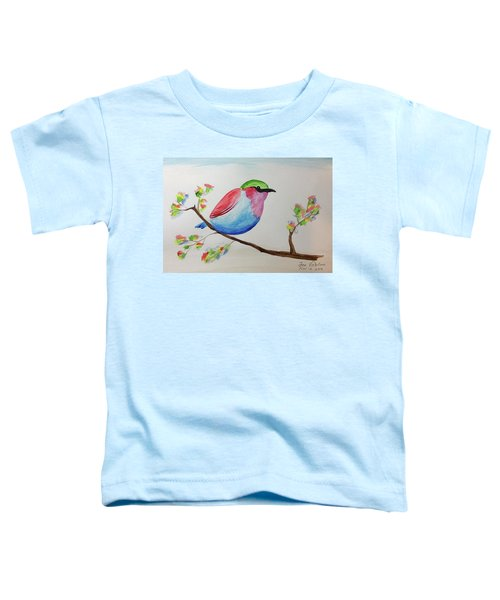 Chickadee With Green Head On A Branch Toddler T-Shirt