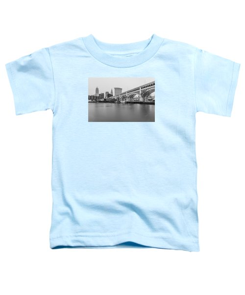 Cleveland Skyline In Black And White  Toddler T-Shirt