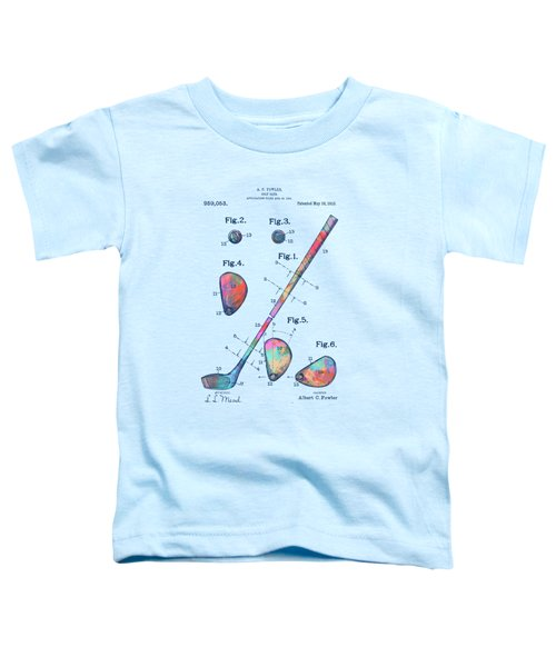 Colorful 1910 Golf Club Patent Toddler T-Shirt