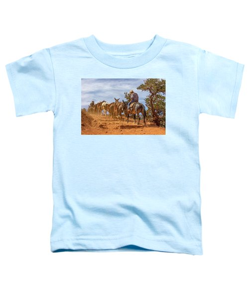 Cowboy And Mule Train On The South Kaibab Trail In The Grand Canyon Toddler T-Shirt