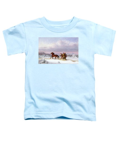 Crossing The Saint Lawrence From Levis To Quebec On A Sleigh Toddler T-Shirt