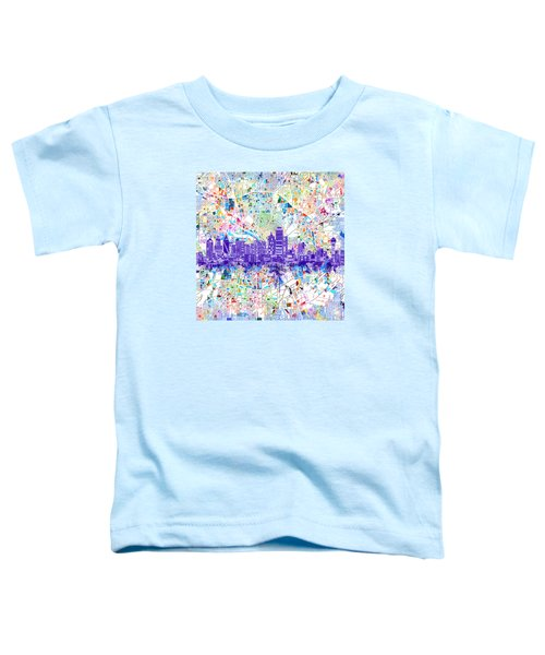 Dallas Skyline Map White 3 Toddler T-Shirt