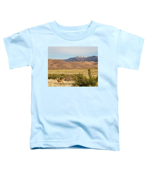 Toddler T-Shirt featuring the photograph Deer And The Colorado Sand Dunes by James BO Insogna