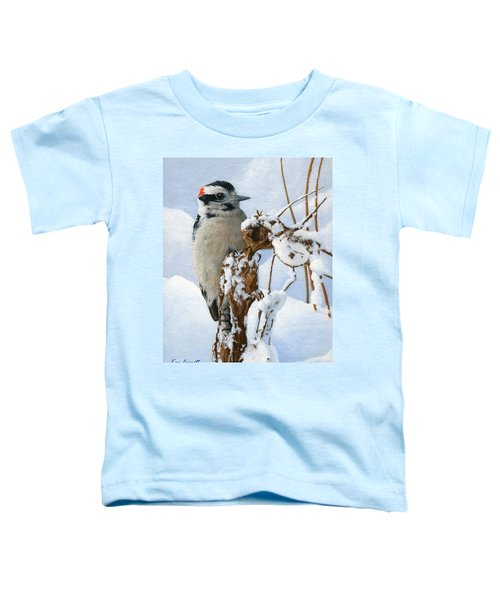 Downy Woodpecker  Toddler T-Shirt by Ken Everett