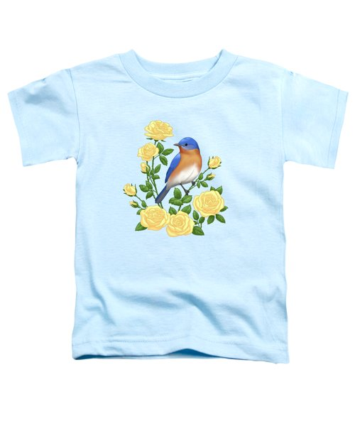 Eastern Bluebird And Yellow Roses Toddler T-Shirt
