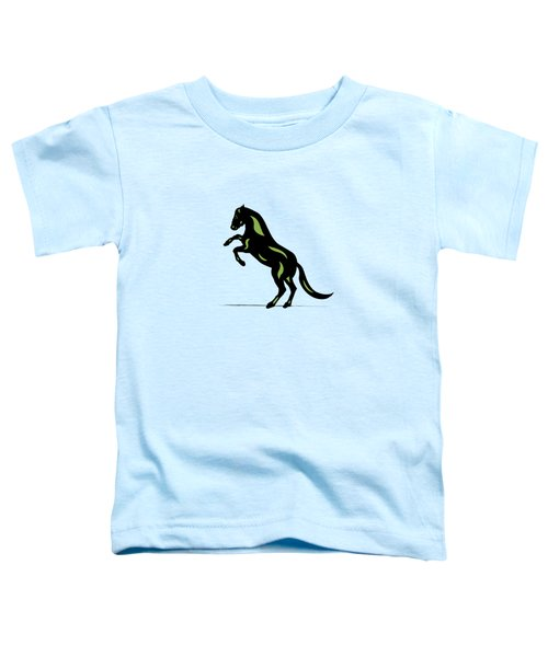 Emma - Pop Art Horse - Black, Greenery, Island Paradise Blue Toddler T-Shirt