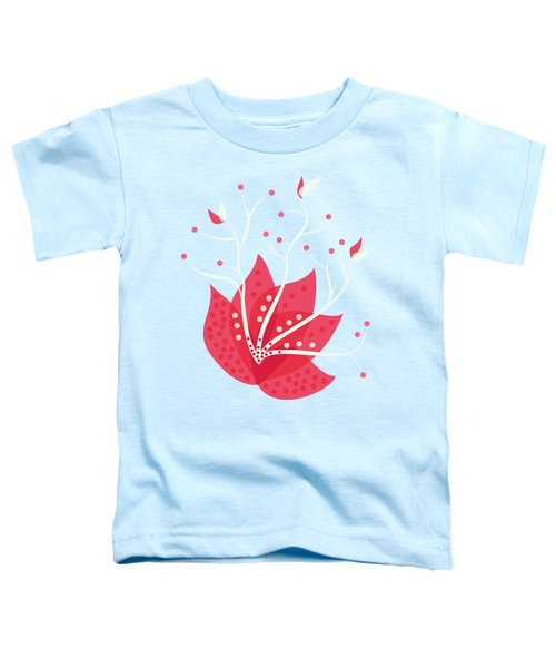 Exotic Pink Flower And Dots Toddler T-Shirt