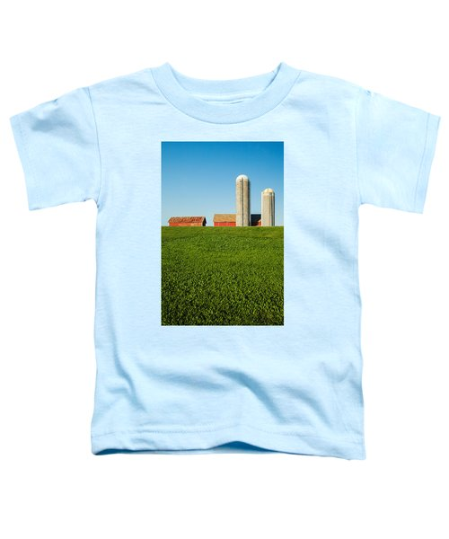 Farm Silos And Shed On Green And Against Blue Toddler T-Shirt