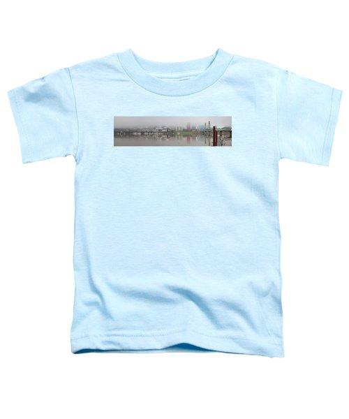 Foggy Day Along Portland Waterfront Panorama Toddler T-Shirt