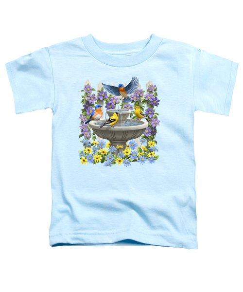Fountain Festivities - Birds And Birdbath Painting Toddler T-Shirt by Crista Forest