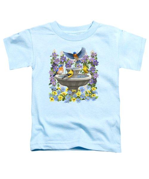 Fountain Festivities - Birds And Birdbath Painting Toddler T-Shirt