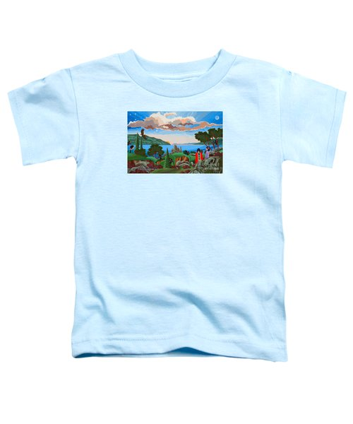 Toddler T-Shirt featuring the painting From A High Place, Troubles Remain Small by Chholing Taha