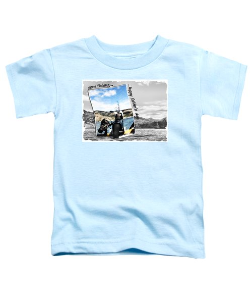Toddler T-Shirt featuring the digital art Gone Fishing Father's Day Card by Susan Kinney