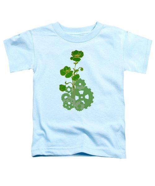 Green Mechanical Flowers Toddler T-Shirt