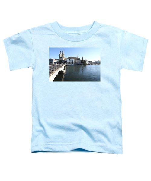 Grossmunster, Wasserkirche And Munsterbrucke - Zurich Toddler T-Shirt