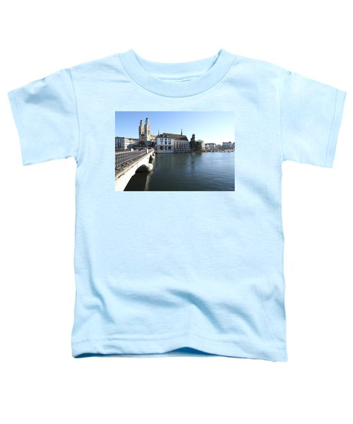 Toddler T-Shirt featuring the photograph Grossmunster, Wasserkirche And Munsterbrucke - Zurich by Travel Pics