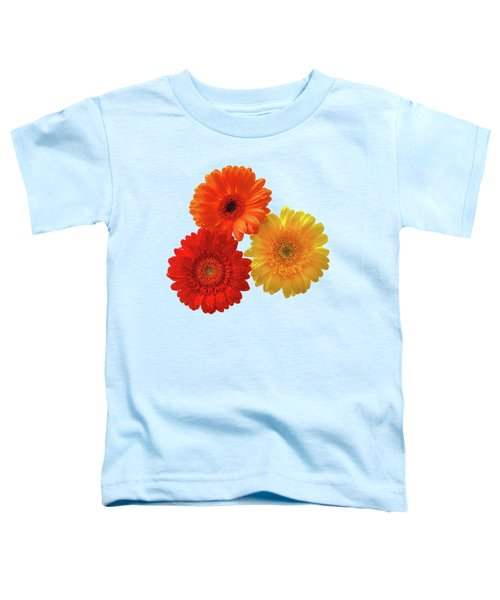 Happiness Orange Red And Yellow Gerbera On Blue Toddler T-Shirt