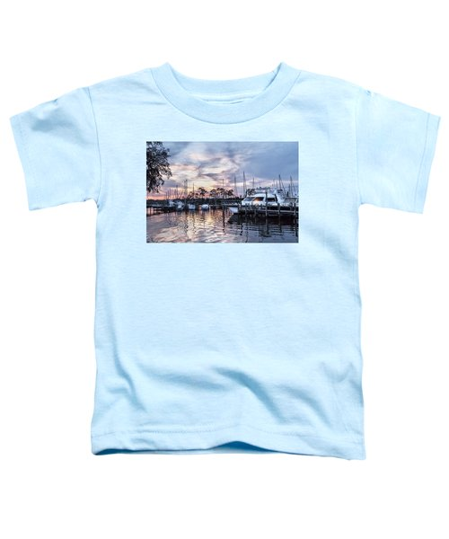 Happy Hour Sunset At Bluewater Bay Marina, Florida Toddler T-Shirt