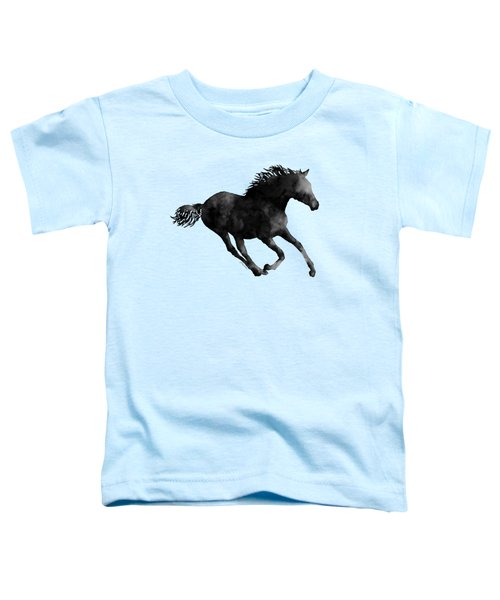 Horse Running In Black And White Toddler T-Shirt